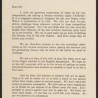 Promotional letter for Challenge