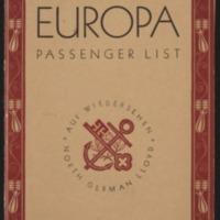 Dorothy West's S.S. Europa Passenger List